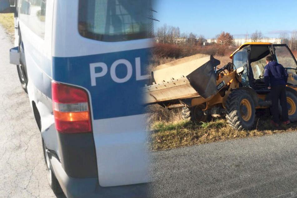 Der beschädigte Streifenwagen und der geklaute Radlader.