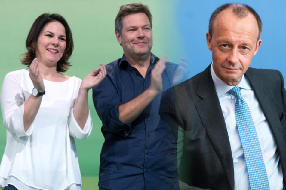 Die Bundesvorsitzenden der Grünen Annalena Baerbock und Robert Habeck können sich freuen: Ihre Partei liegt bei 23 Prozent. Bei der Union blieb der Merz-Effekt aus.