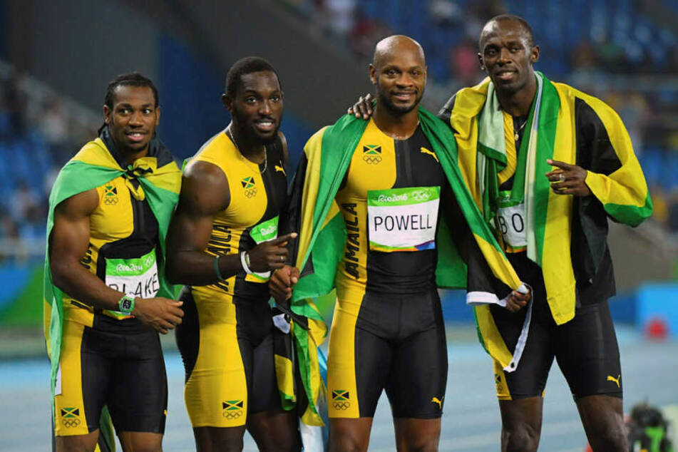 Das Jamaika-Quartett mit Asafa Powell, Yohan Blake, Nickel Ashmeade und Schlussläufer Usain Bolt.