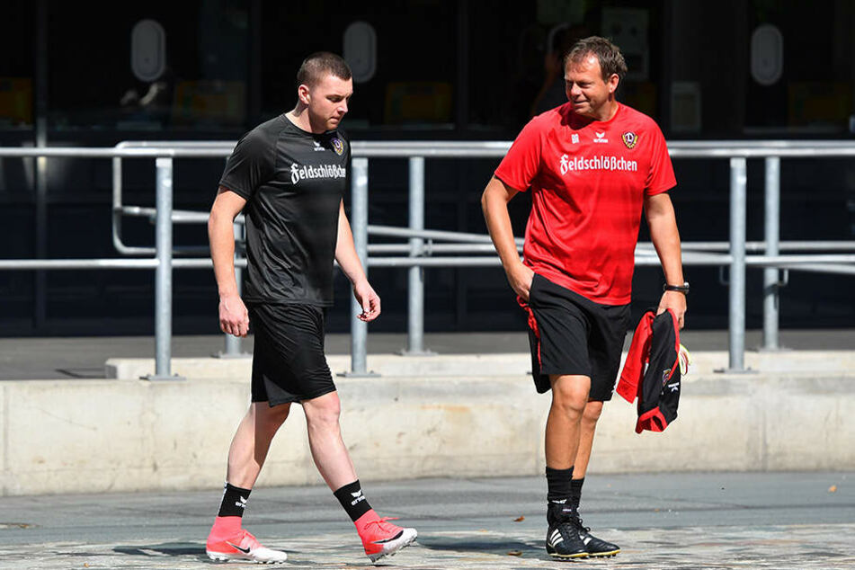 Zwei Bosnier bei Dynamo: Torwarttrainer Brano Arsenovic (r.) soll Haris Duljevic auch sprachlich bei der Eingewöhnung helfen.