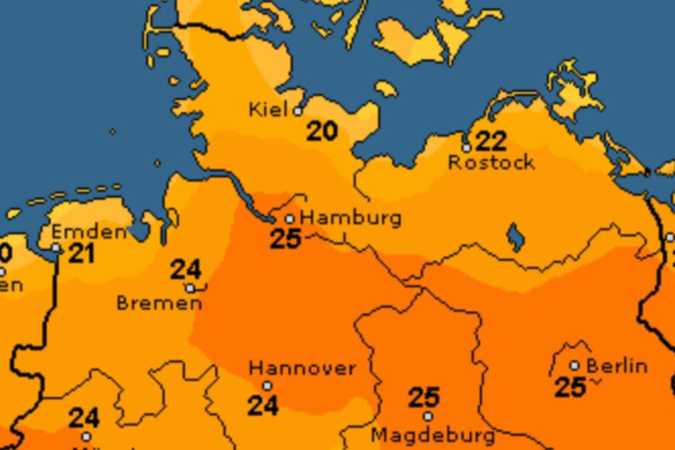 Am Sonntag erwarten die Meteorologen in Hamburg bis zu 25 Grad.