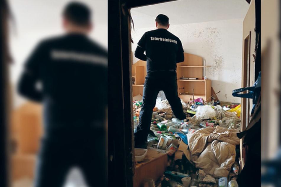 In einer komplett zugemüllten Wohnung versucht der Tatortreiniger, sich einen Überblick zu verschaffen.