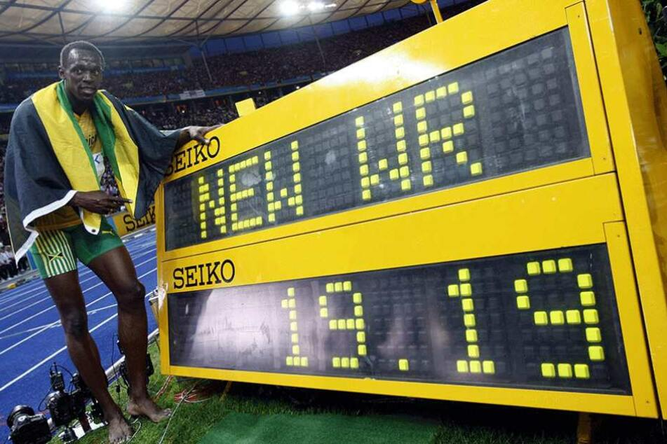 Usain Bold stellte 2009 im Berliner Olympiastadion den bis heute gültigen Weltrekord über 200 Meter auf.