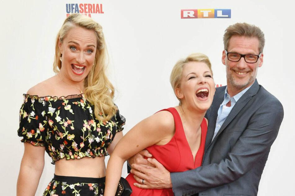 Eva Mona Rodekirchen mit ihren GZSZ-Kollegen Iris-Mareike Steen und Clemens Löhr.