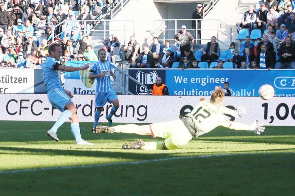 Routinier Julius Reinhardt, der hier das 4:1 gegen Mainz II. erzielt, will sich im Saisonfinale nicht entspannt zurücklehnen.