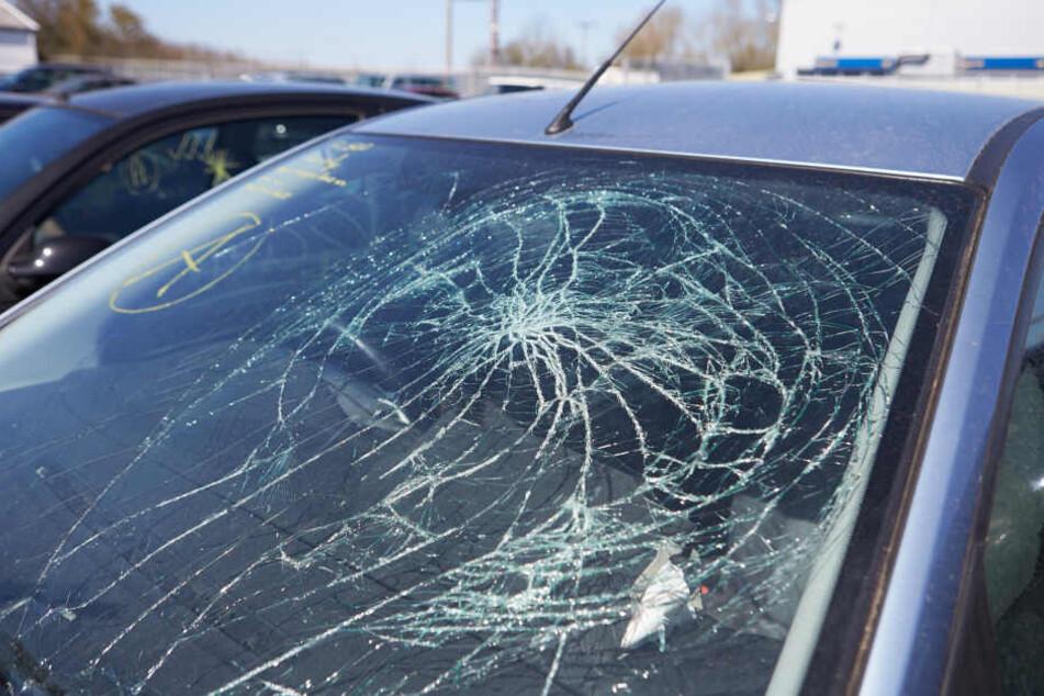 Die Windschutzscheibe des Autos wurde stark beschädigt. (Symbolbild)