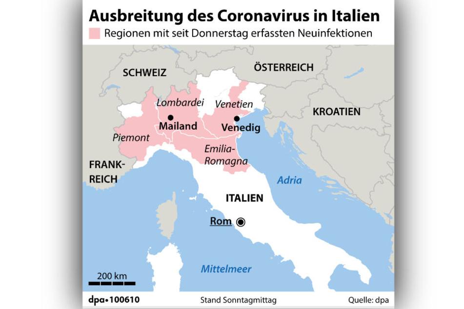 Die Emilia-Romagna wurde mittlerweile zur Risikoregion erklärt.