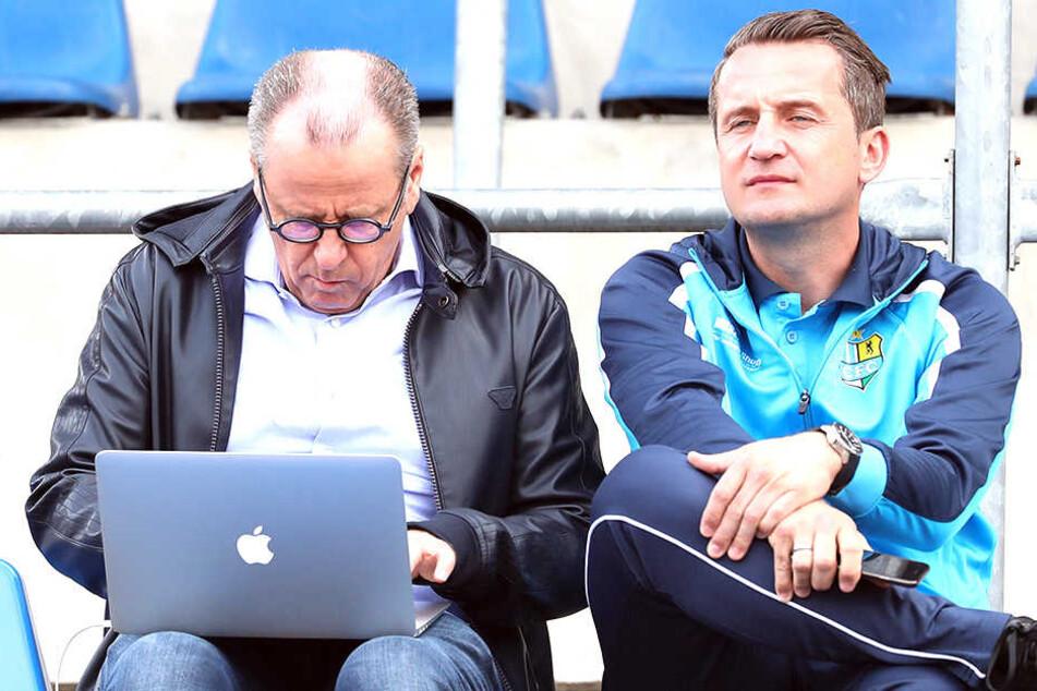 Klaus Siemon (l.) und sein Vertrauter, Sportchef Thomas Sobotzik.