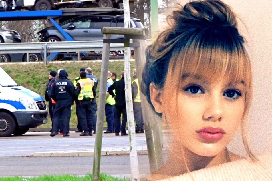 Polizisten und Einsatzkräfte suchen am Rastplatz Biegener Hellen an der Autobahn 12 Richtung Polen nach Spuren der Berliner Schülerin Rebecca.