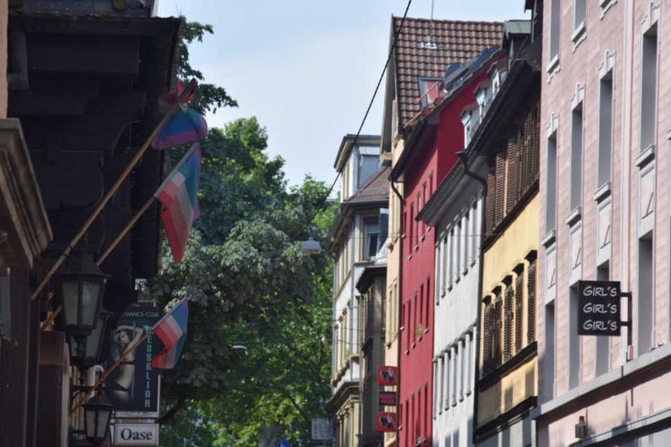 Das Rotlichtviertel bei Tag in Stuttgart.
