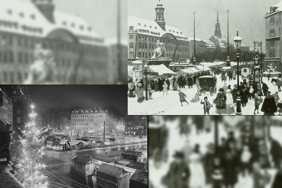 Um 1910 fand der Striezelmarkt, festgehalten in dieser Malerei, entlang des Goldenen Reiters statt (rechts). 1937 standen Striezelmarkt-Buden auf dem Neumarkt.