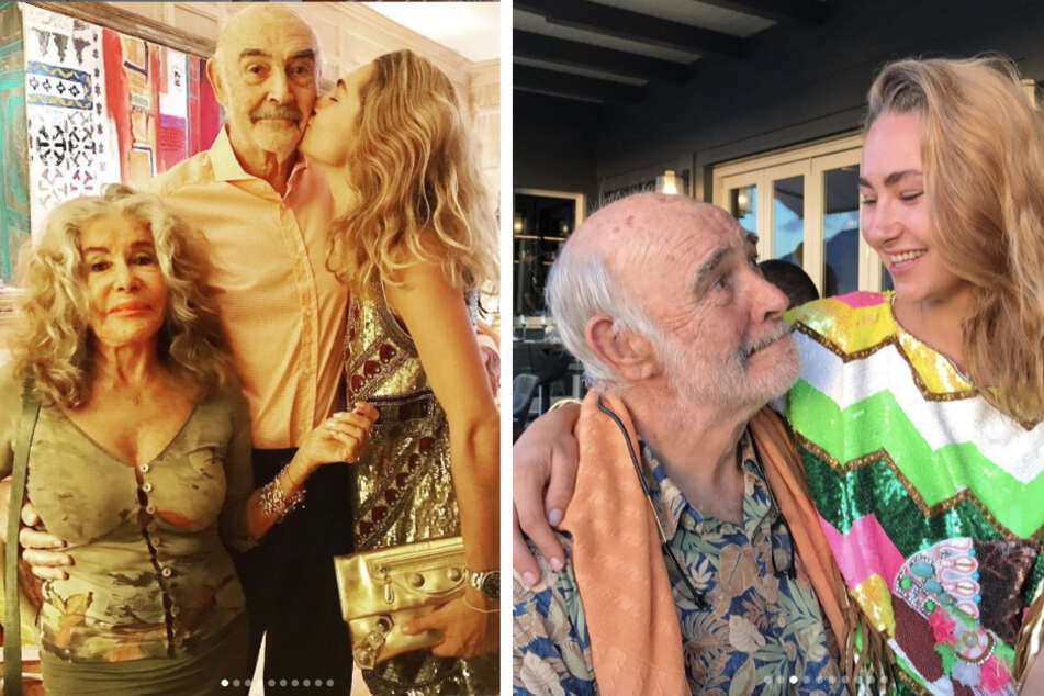 Sir Sean Connery and Micheline Roquebrune (l.) were married for more than 45 years, with granddaughter Saskia on the right (collage).