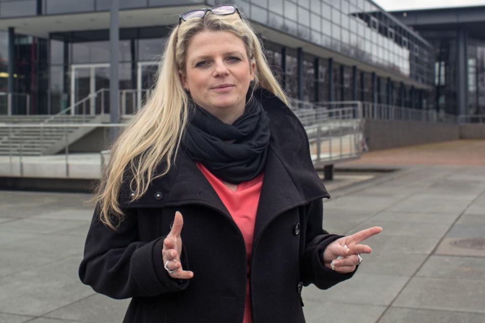 Linke-Fraktions-Chefin Susanne Schaper (38) wünscht sich mehr Frauennamen an  Chemnitzer Straßen.