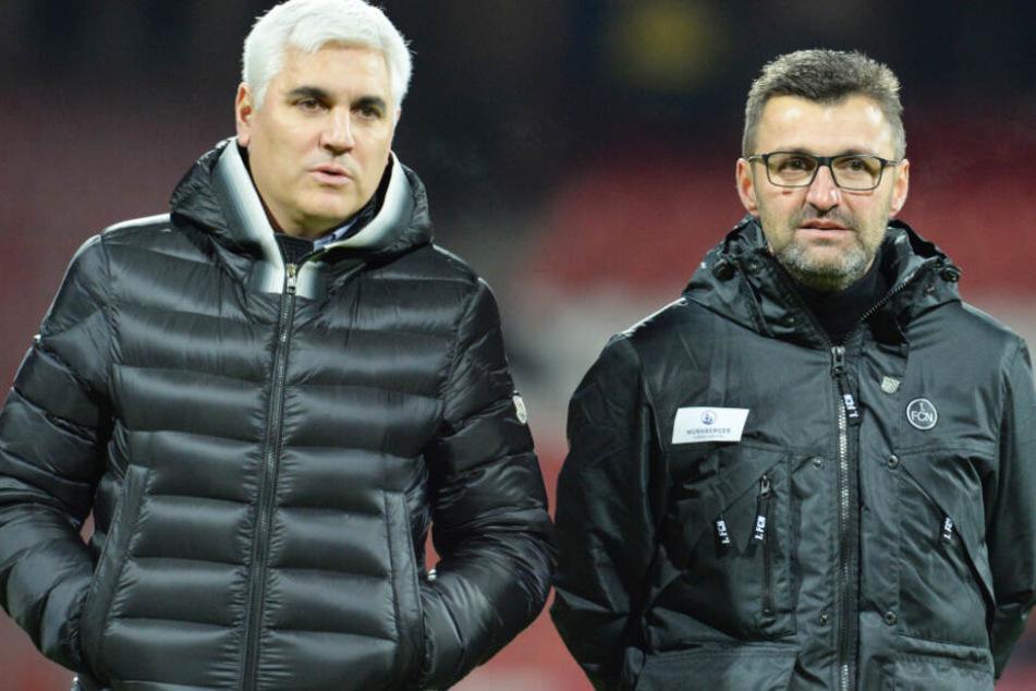 Andreas Bornemann (l.) hat Trainer Michael Köllner (r.) bis zuletzt gestützt. (Archivbild)