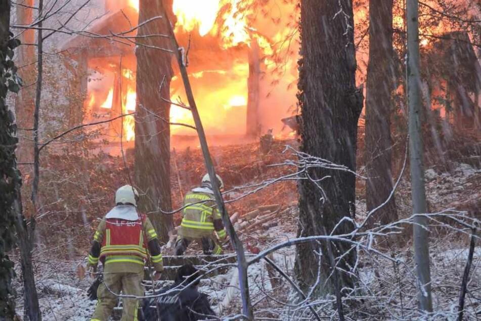 Die Kameraden der Feuerwehr konnten das Ausbrennen des Holzbungalows in Grimma nicht verhindern.