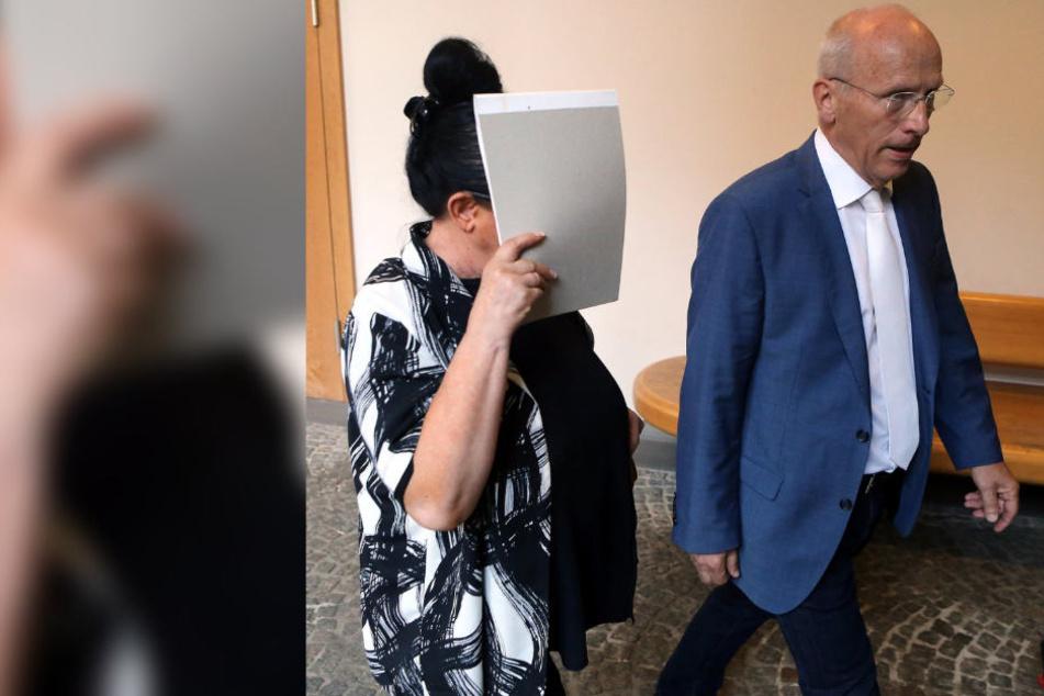 """Die ehemalige Inhaberin des Brautmodengeschäfts """"Agora"""" mit Verteidiger Holger Rostek vor dem Gericht."""