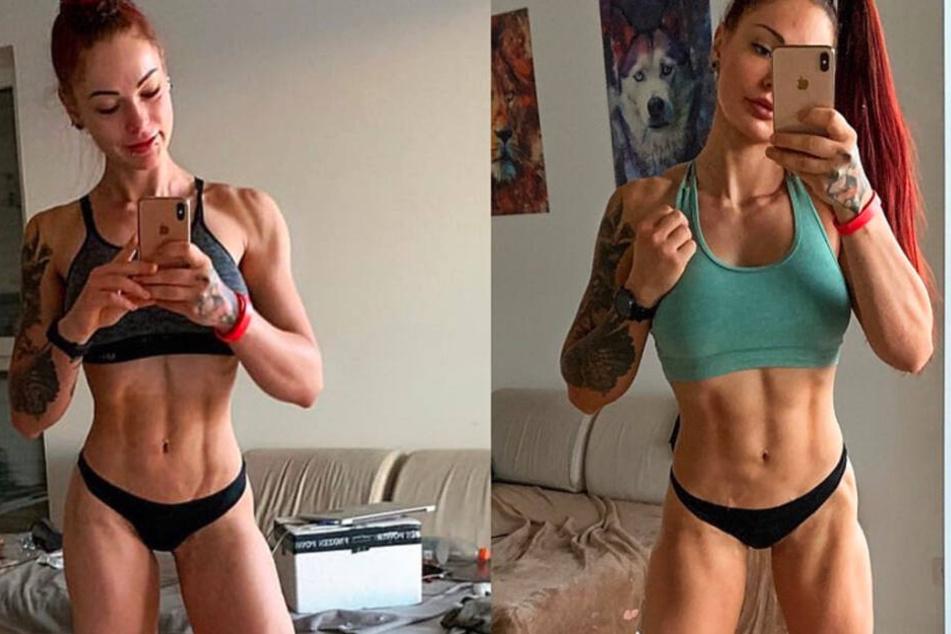 Fitness-Fanatikerin Lea aus Gießen postete am Dienstag einen Vergleich zwischen ihrer Form aus dem vergangenen Jahr und dem aktuellen Stand der Dinge.