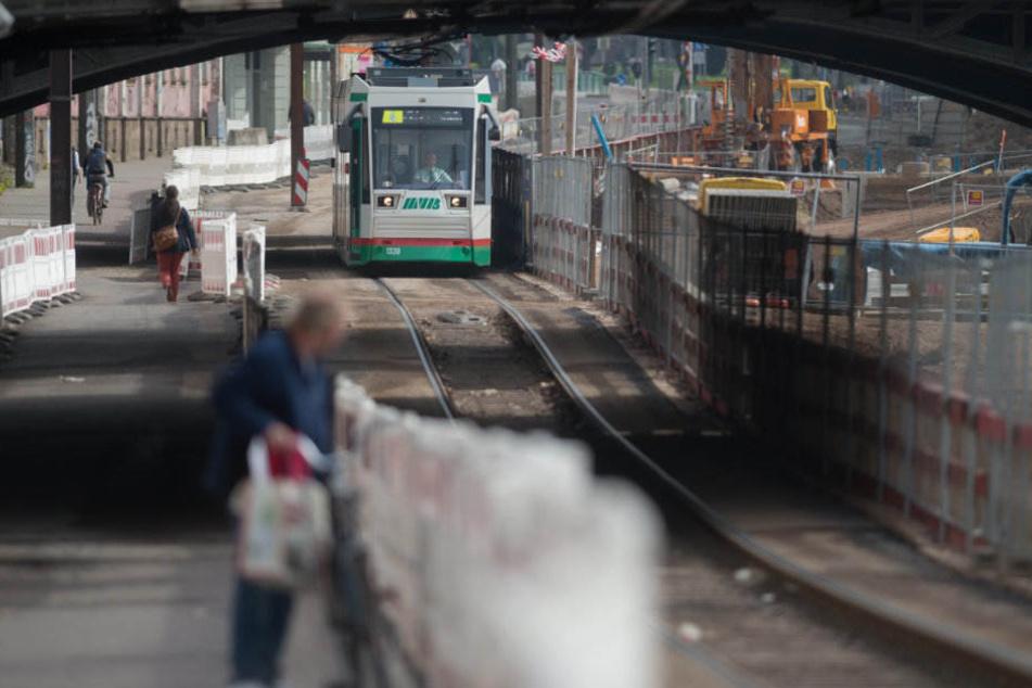 Bis Anfang des Jahres rollten noch die Straßenbahnen durch die Baustelle. Damit ist nun auch Schluss.