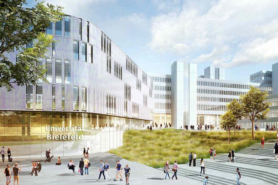 So könnte der neue Eingangsbereich der Uni Bielefeld in Zukunft aussehen.