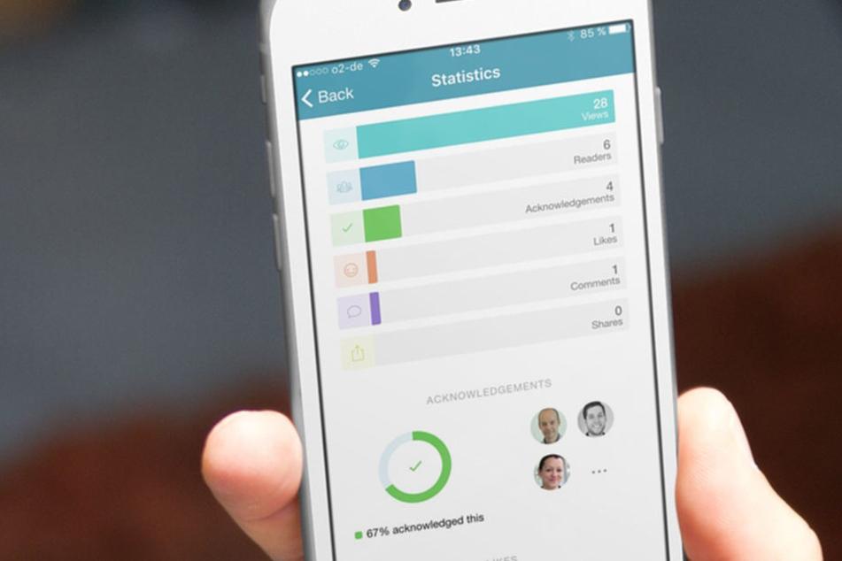 Mitarbeiter einer Firma können mit der App Mitteilungen, Dienstpläne, Kantinenangebote und Umfragen lesen, ohne am Arbeitsplatz zu sein.