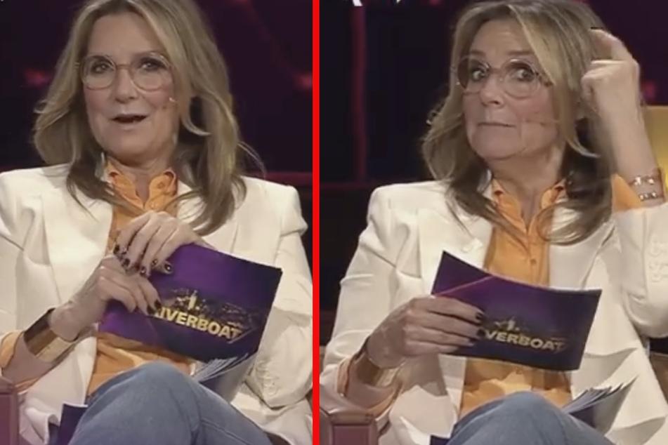 """""""Der spinnt wohl!"""" Moderatorin Kim Fisher (51) ist über die Dreistigkeit ihres Co-Moderators Jörg Kachelmann entsetzt."""