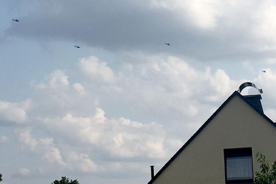 Die Hubschrauber waren am Donnerstagabend über Chemnitz unterwegs.