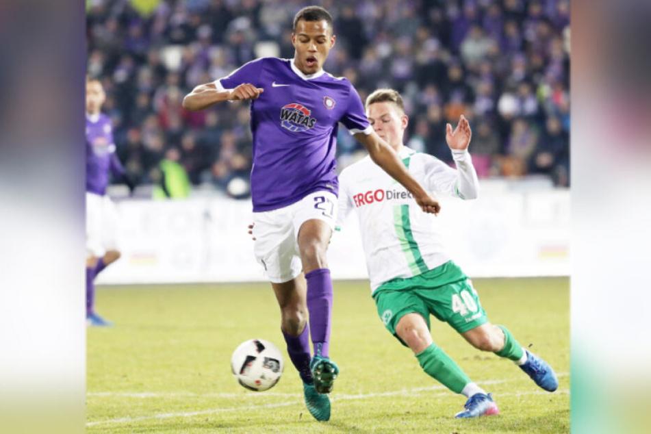 Im Februar 2017 spielte Louis Samson (l.) mit Aue gegen Fürth - damals gab es im Erzgebirge ein 0:0.