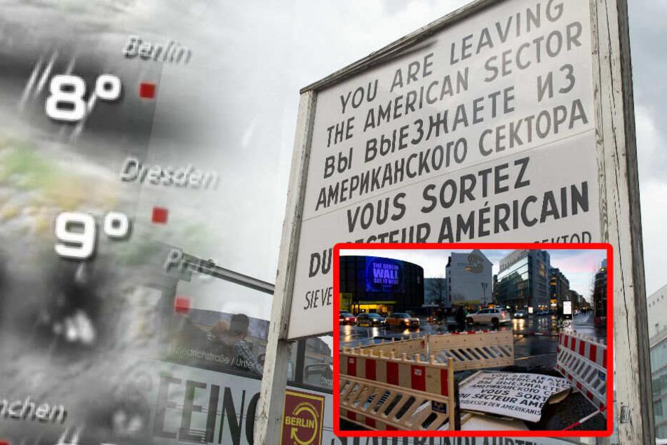 """Sturmtief """"Bennet"""" zerstört weltbekanntes Schild am Checkpoint Charlie"""