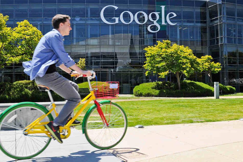 Vorbild für Berlin? Schöne Tech-Welt rund um San Francisco: Ein Mann fährt auf einem Fahrrad vor dem Logo des Internets Konzerts Google auf dem Google Campus im Silicon Valley vorbei.