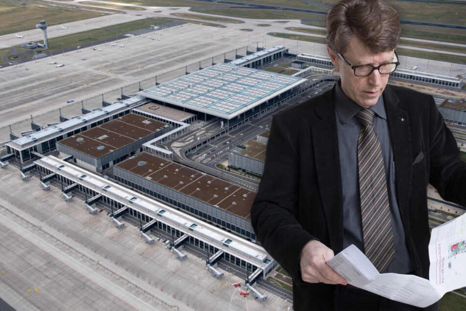 Flughafenchef Engelbert Lütke Daldrup wälzt im Lageplan des fertigen Südterminals am BER. (Bildmontage)