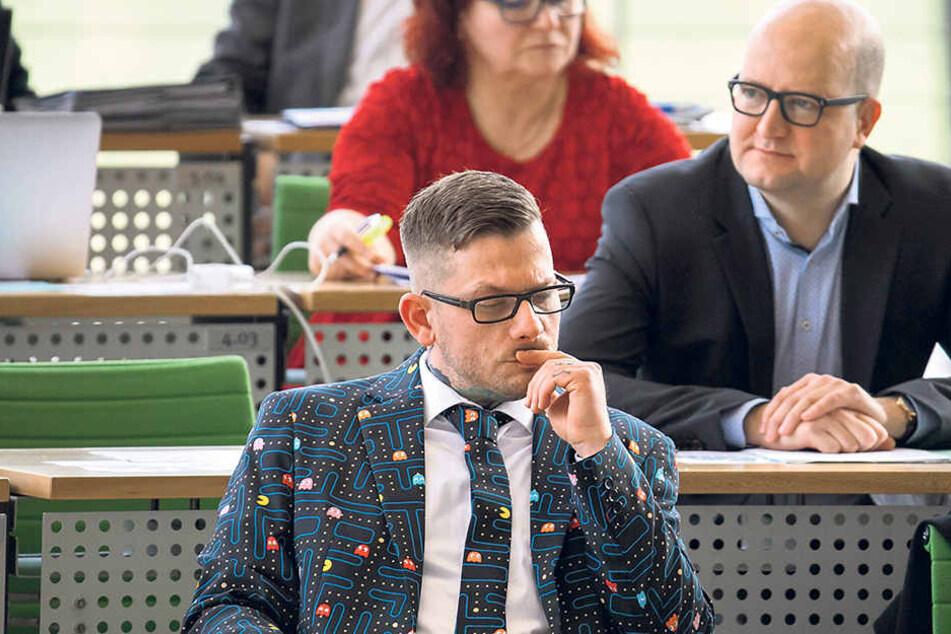 Der neue Arbeitsplatz von René Jalaß im Plenarsaal des Sächsischen Landtags.