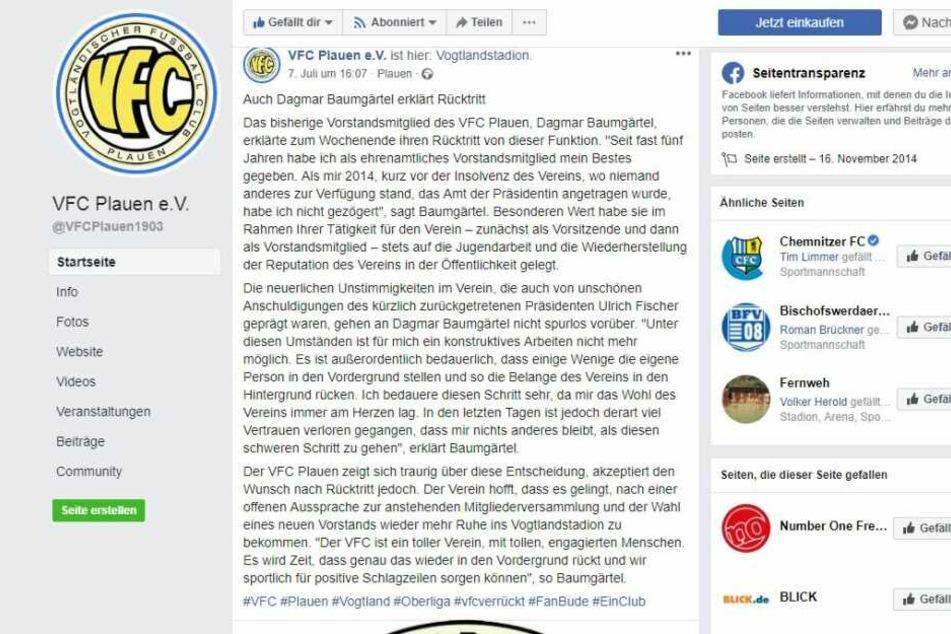 Dagmar Baumgärtel verabschiedet sich via Facebook emotional bei den Fans des Traditionsvereins.
