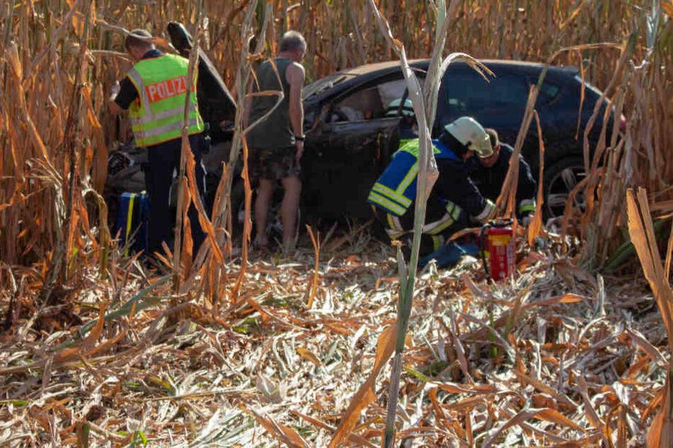 Ein Seat Leon wurde bei dem Unfall auf der Staatsstraße 2245 in ein Maisfeld geschleudert.