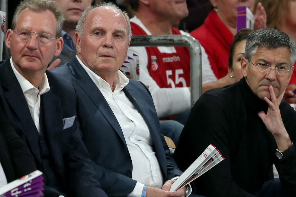 Uli Hoeneß (2.v.l) und Herbert Hainer (r) bei einem Spiel des FC Bayern Basketball.