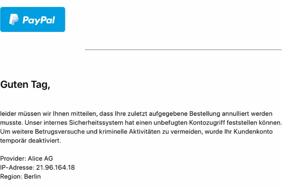 Diese E-Mail stammt angeblich von PayPal.