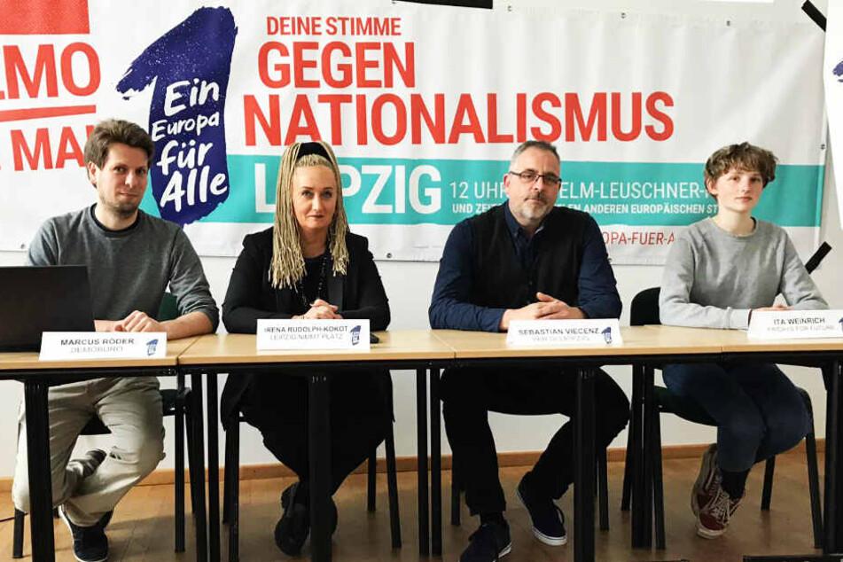 """Marcus Röder, Irena Rudolph-Kokot, Sebastian Viecenz und Ita Weinrich stellten am Mittwoch das Programm der Demonstration """"Ein Europa für Alle"""" vor."""