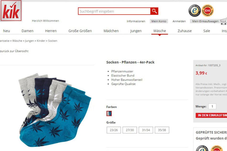 Der Textil-Discounter KiK verkauft neuerdings Kindersocken mit Cannabis-Muster.