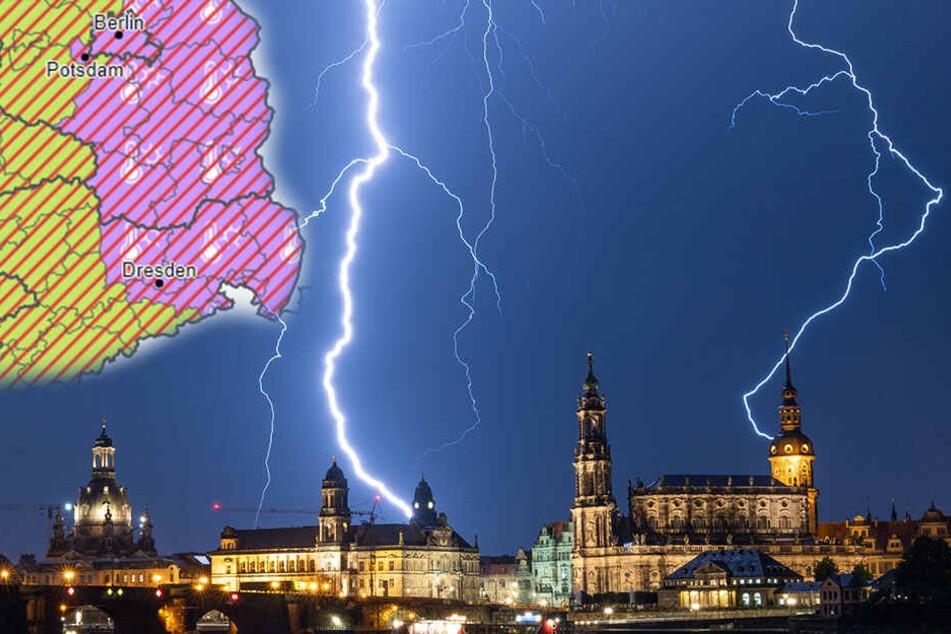 Am Mittwoch wird es in Dresden noch mal richtig ungemütlich! Dann sinken die Temperaturen wieder und das Gewitter zieht weiter.