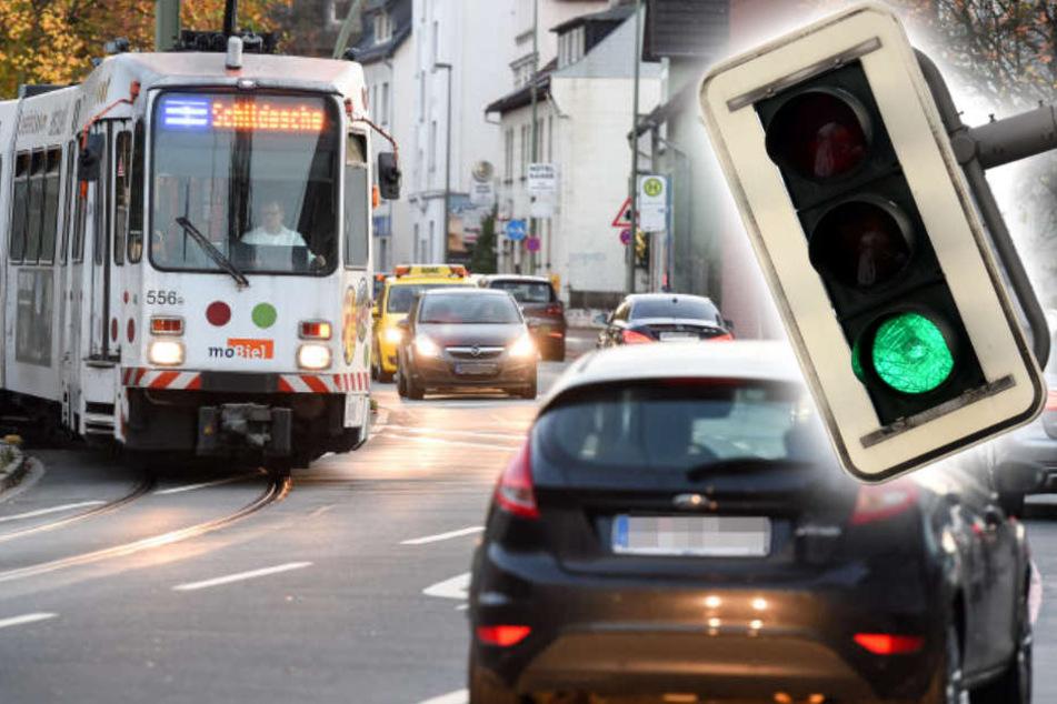 Darf ich bei Grün vor der Straßenbahn abbiegen?