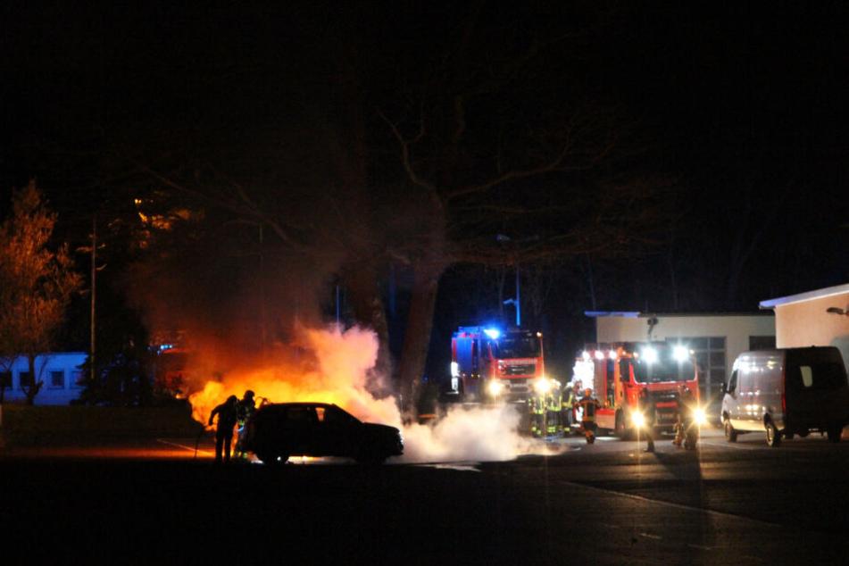 Feuerwehrleute löschen die ausgebrannten Fahrzeuge der städtischen Polizeibehörde. Zwei Autos brennen komplett aus, ein SUV wird schwer beschädigt.