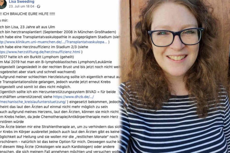 Die 23-Jährige aus Ulm rief auf Facebook um Hilfe auf. (Fotomontage)