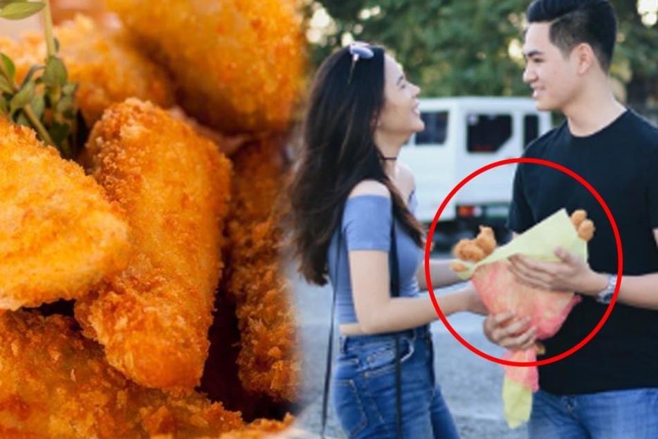 Weil sie keine Blumen mag! Mädchen bekommt Strauß aus Chicken-Nuggets