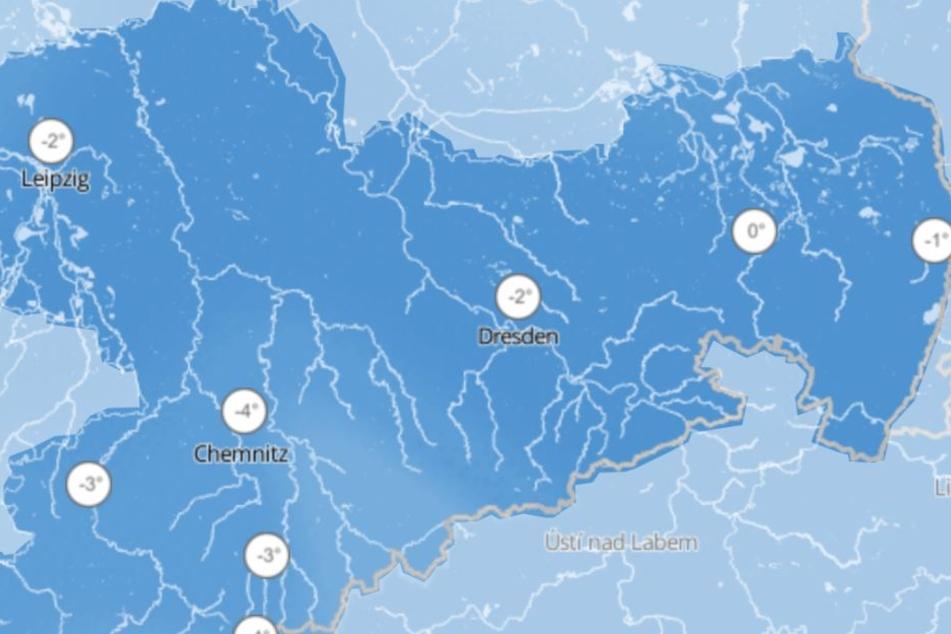 Die Tiefsttemperaturen in Sachsen gehen am Mittwoch bis auf -4 Grad in Chemnitz und Südwestsachsen zurück.