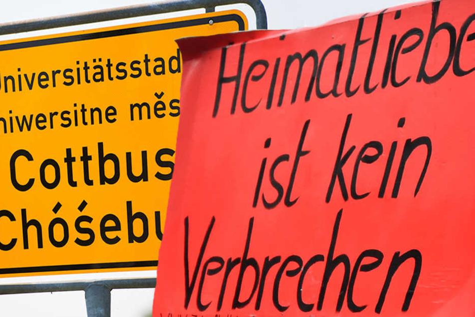 Cottbus: Eine Stadt in Aufruhe. (Bildmontage)