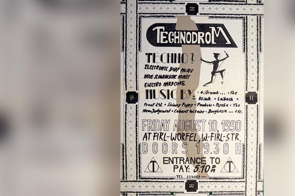 Schon mehr als 30 Jahre her: Werbeplakat für Techno-Abend am 10. August 1990.
