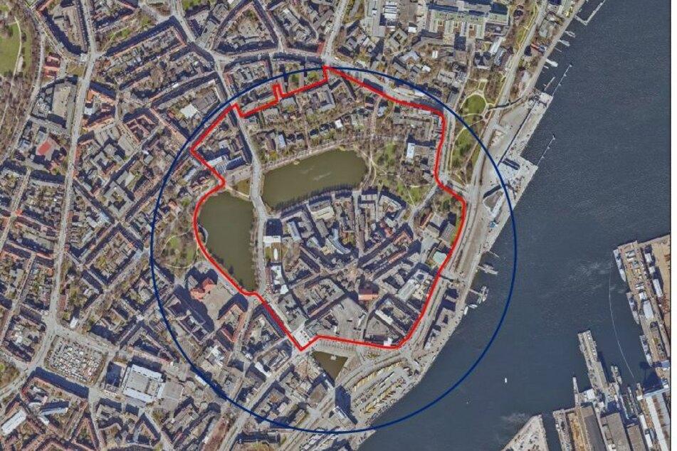 Luftbildaufnahme des Evakuierungsbereichs rund um die Haßstraße.