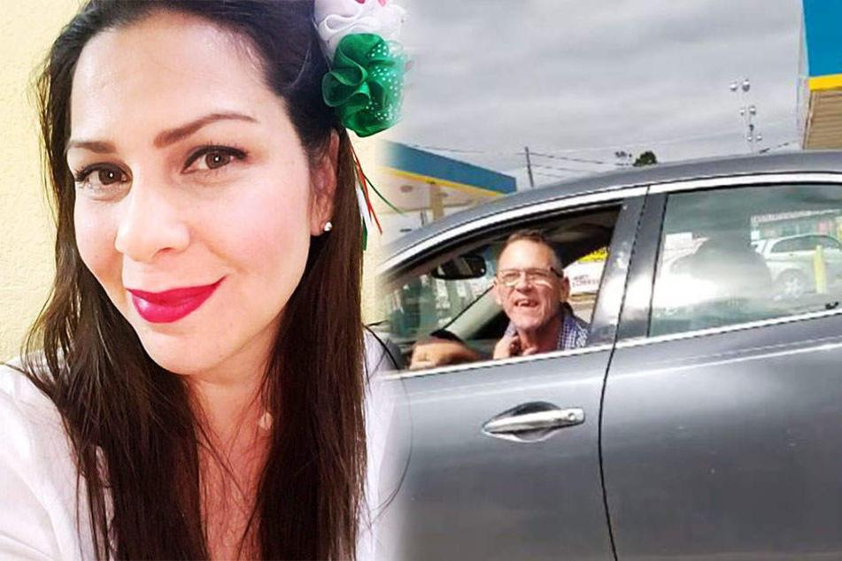 Der Mann beleidigte Janet durch das offene Fenster seines Autos. Sie filmte die Aktion.