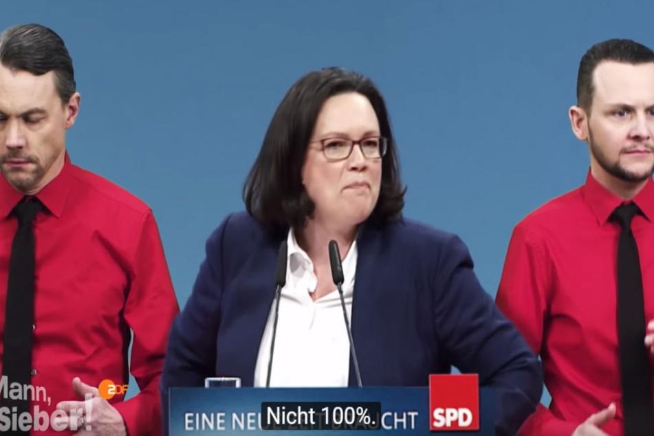 """Die SPD wird beim ZDF gnadenlos durch den Kakao gezogen. Nahles: """"Ich bin nicht der breitbeinige Typ, der alles besser weiß"""", sagte sie aktuell dem """"stern""""."""
