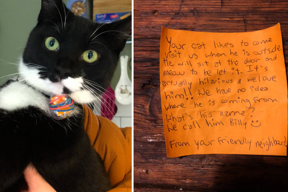 Billy became a letter kitty when he brought home this note (r.) on his collar a few months ago.