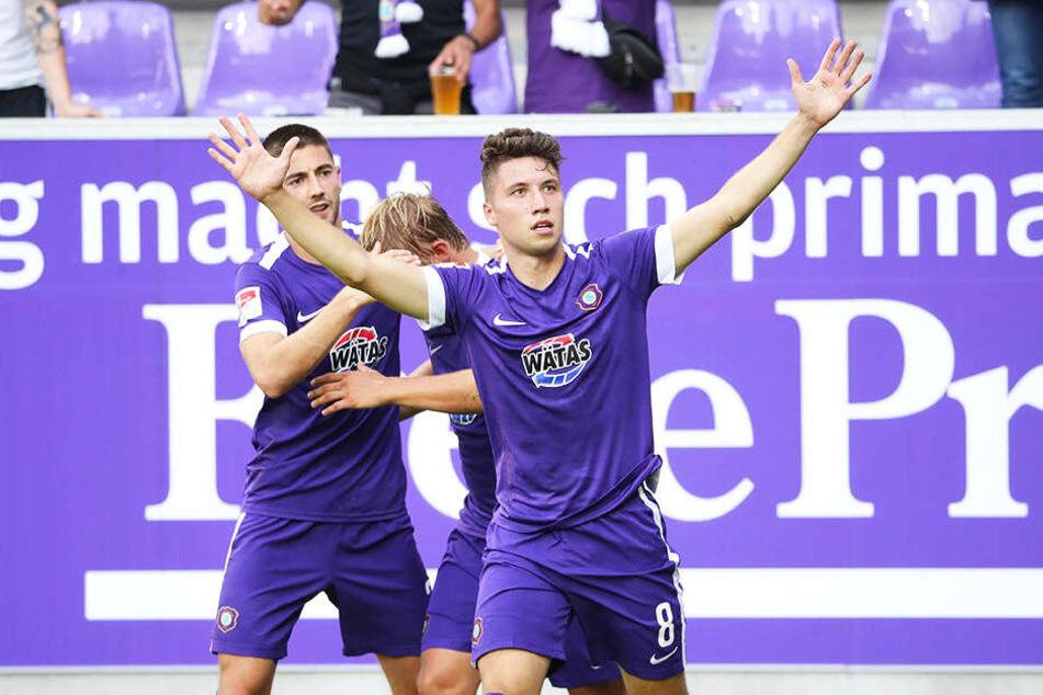 Tom Baumgart traf zum 3:1 für den FC Erzgebirge Aue.
